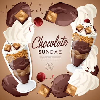 Ice cream sundae set, chocolate sundae.