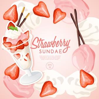 Ice cream sundae set, strawberry sundae.