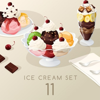 Ice cream sundae set.
