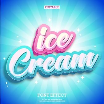 Ice cream text logo & tittle-ontwerp met schone blauwe achtergrond