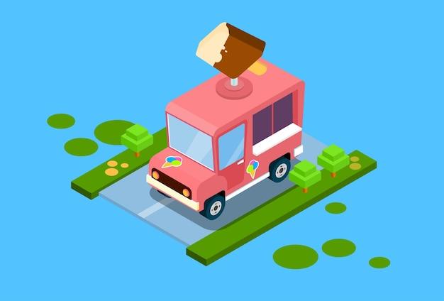 Ice cream truck 3d isometrisch ontwerp