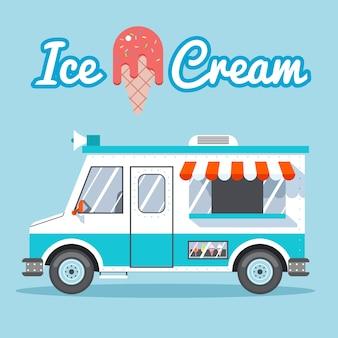 Ice cream truck te koop op een blauwe achtergrond.