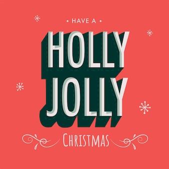 Ice effect-tekst holly jolly op hemelsblauwe en roze achtergrond met kleurovergang voor vrolijk kerstfeest.