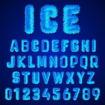 Ice lettertype alfabet sjabloon