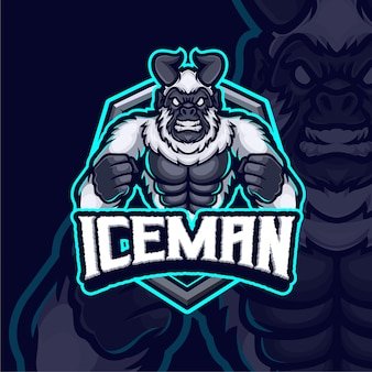 Ice man mascotte esport logo ontwerp