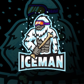 Ice man mascotte logo esport gaming illustratie
