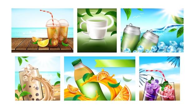 Ice tea creatieve promotionele posters instellen vector. sinaasappel en citroen, aardbei en bosbes, groen en fruitthee lege pakketten reclamebanners. stijl kleur concept sjabloon illustraties