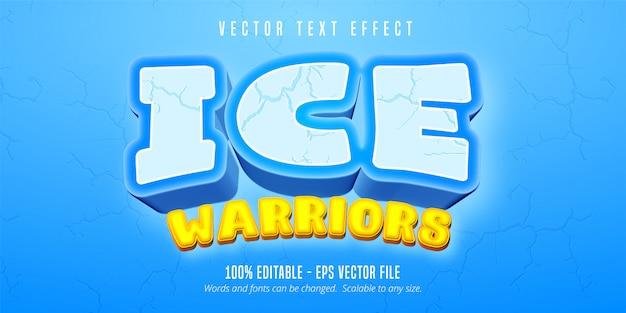 Ice warriors-tekst, bewerkbaar teksteffect in cartoon-spelstijl