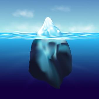 Iceberg floatingwinter arctisch landschap met blauw zuiver water en sneeuwheuvels