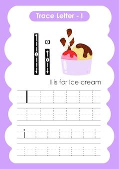 Icecream trace lijnen schrijven en tekenen oefenwerkblad voor kinderen