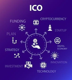 Ico-conceptsjabloon. moderne ontwerpstijl. bevat iconen als cryptocurrency, opstarten, digitale economie, technologie
