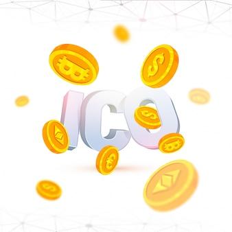 Ico eerste munt die achtergrond met gouden cryptomuntmuntstukken aanbieden.