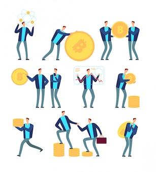 Ico en blockchain-concept. mensen uit het bedrijfsleven met cryptocurrency en tokens. globe digitale mijnbouw en winst vector set