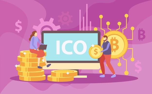 Ico initiële munt met platte samenstelling
