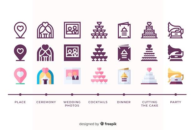 Icon collectie voor bruiloft evenement