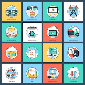Icon pack van internet en netwerken