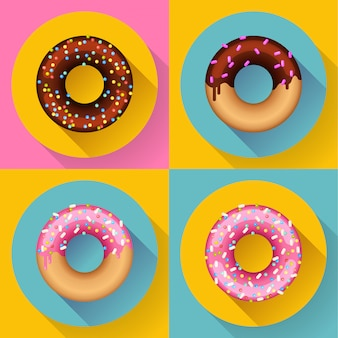 Icon set leuke zoete kleurrijke chocolade donuts. flat ontworpen stijl.