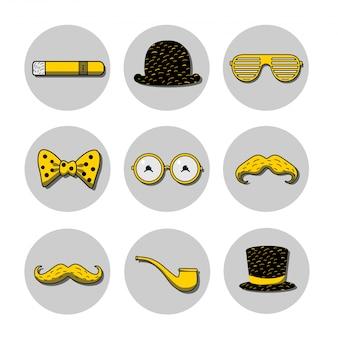 Icon set met bolhoed, cilinderhoed, bril, snorren op de stokjes, sigaar en pijp op de gele en zwarte kleuren