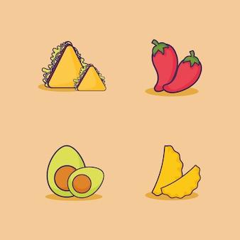 Icon set mexicaanse voedsel gerelateerde pictogrammen over oranje achtergrond, kleurrijk ontwerp. vectorillustratie