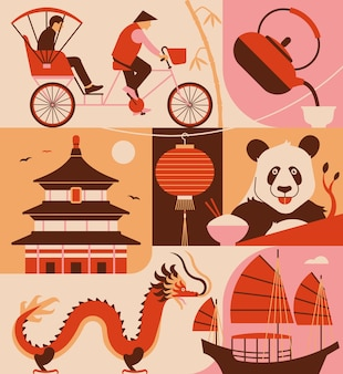 Icon set van china. riksja, hinese thee, tempel, lantaarn, panda, dradon, boot.