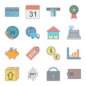 Icon set van e-commerce voor persoonlijk en commercieel gebruik