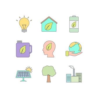 Icon set van eco voor persoonlijk en commercieel gebruik