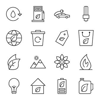 Icon set van ecologie