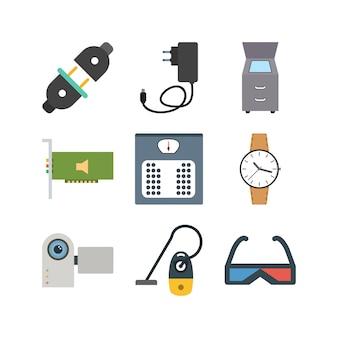 Icon set van elektronische apparaten voor persoonlijk en commercieel gebruik