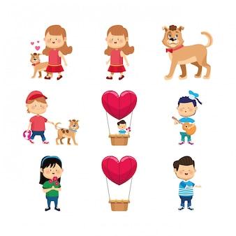 Icon set van gelukkige meisjes, jongen en honden