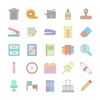 Icon set van kantoor voor persoonlijk en commercieel gebruik