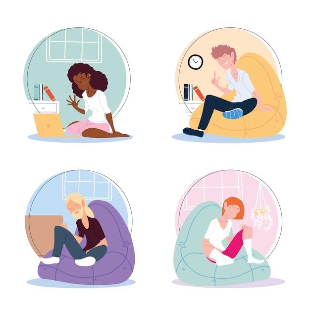Icon set van mensen die vanuit huis werken, telewerken illustratie