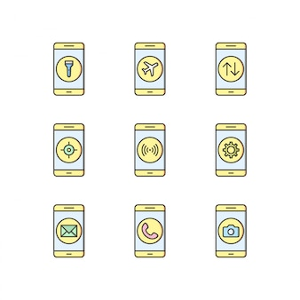 Icon set van mobiele apps