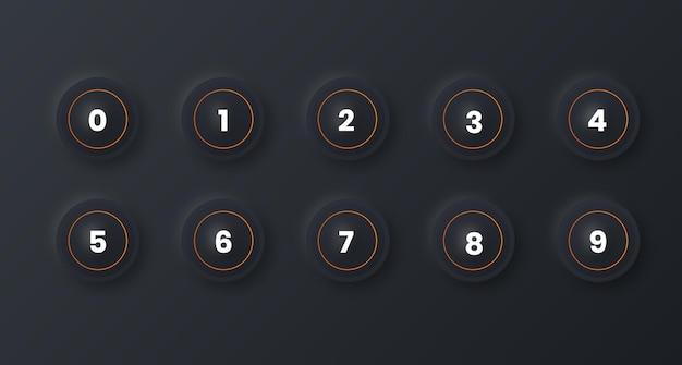 Icon set van nummer opsommingsteken van 1 tot 10 met neumorfisme-effect