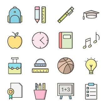 Icon set van onderwijs voor persoonlijk en commercieel gebruik