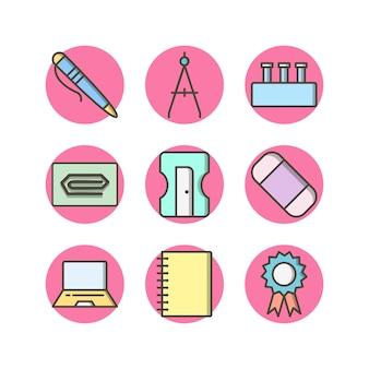 Icon set van onderwijs