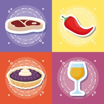 Icon set van picknick eten concept