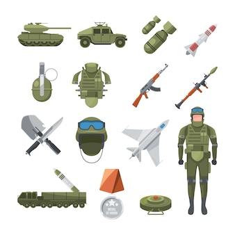 Icon set van politie en leger. militaire illustraties van soldaten en verschillende wapens