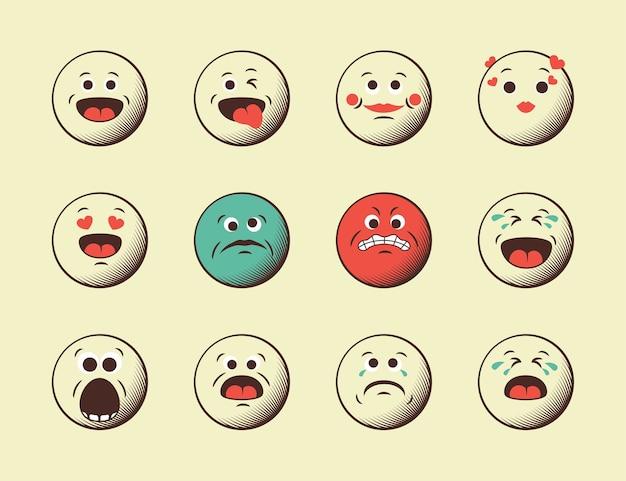 Icon set van retro vintage emoticons. moderne minimalistische retro designelementen van emoji-achtergrond. vintage illustratie.