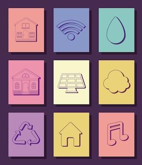 Icon set van slimme huis ontwerp