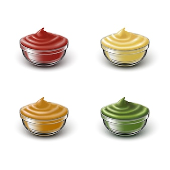 Icon set van transparante bawls met verschillende sauses