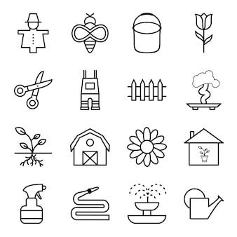 Icon set van tuinieren
