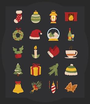Icon set van vrolijk kerstfeest op zwarte achtergrond