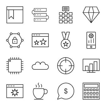 Icon set van zoekmachine optimalisatie