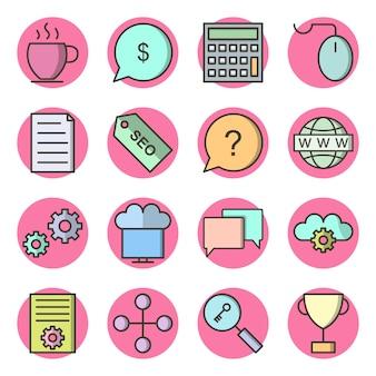 Icon set van zoekmachineoptimalisatie