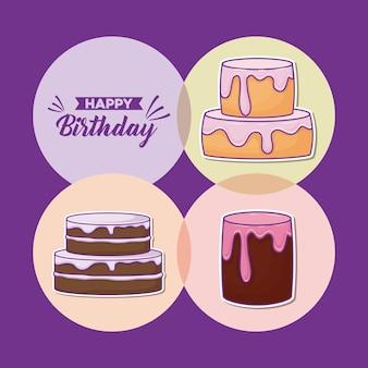 Icon set verjaardagstaarten