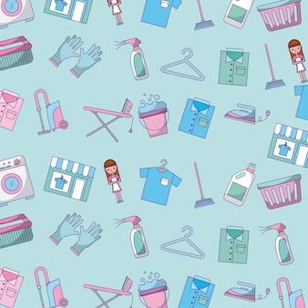 Icon set wasserij cleaning delicate