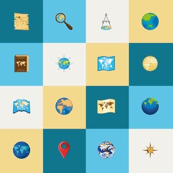 Icon set wereldkaarten