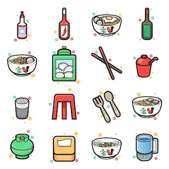 Icon stock van indonesische voedingsmiddelen voorraad