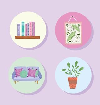 Iconen set van huisdecoratie