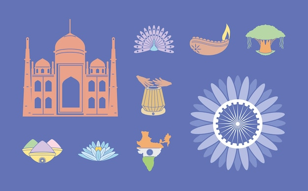 Iconen set van india